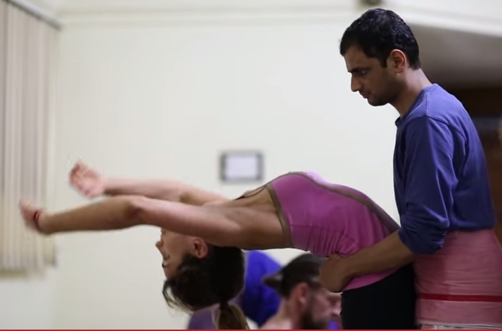 Sharath Jois assisting in BackBend.
